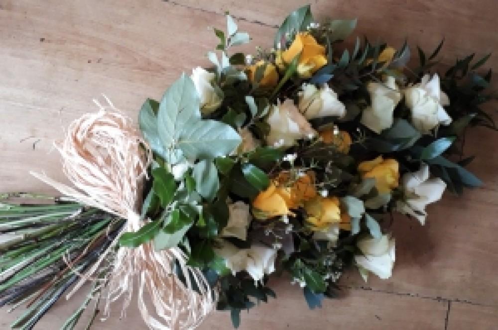Roses tied sheaf